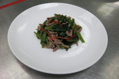 沙茶(咖哩)牛肉炒空心菜(蕹菜)